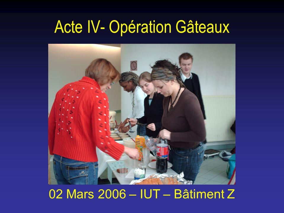 Acte IV- Opération Gâteaux 02 Mars 2006 – IUT – Bâtiment Z