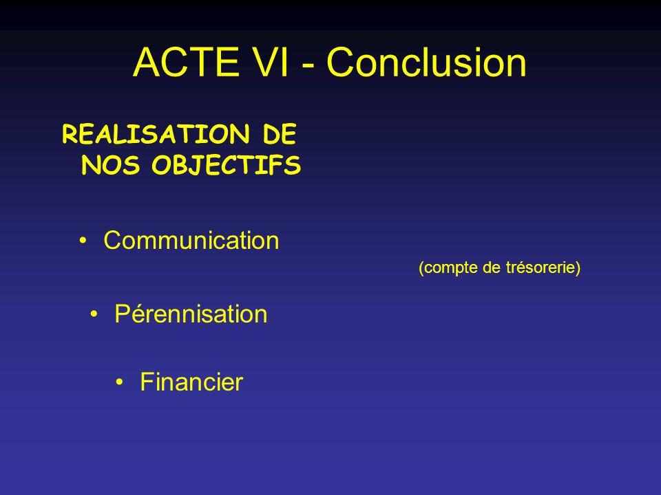 ACTE VI - Conclusion REALISATION DE NOS OBJECTIFS Communication Pérennisation Financier (compte de trésorerie)