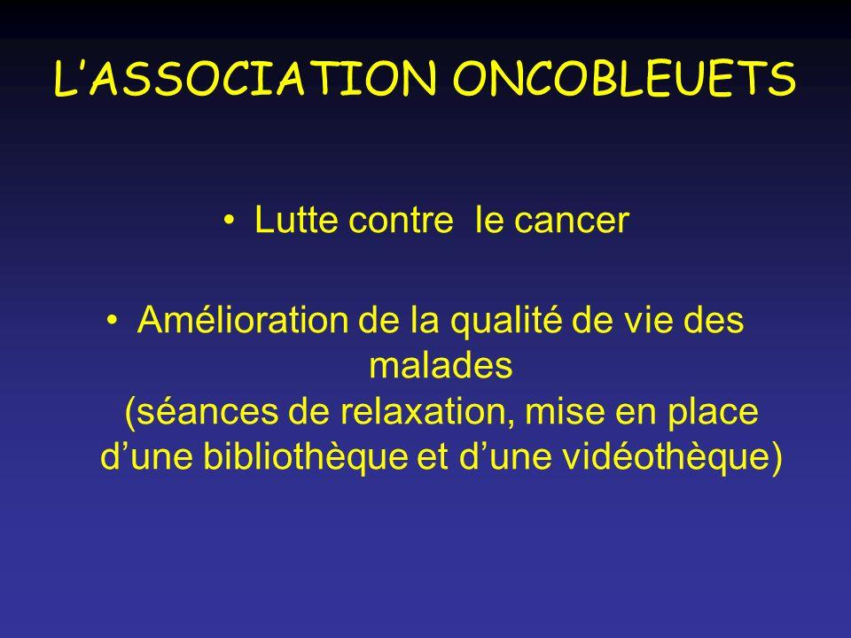 LASSOCIATION ONCOBLEUETS Lutte contre le cancer Amélioration de la qualité de vie des malades (séances de relaxation, mise en place dune bibliothèque