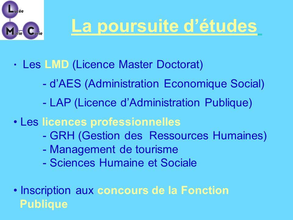 Les LMD (Licence Master Doctorat) - dAES (Administration Economique Social) - LAP (Licence dAdministration Publique) Les licences professionnelles - G