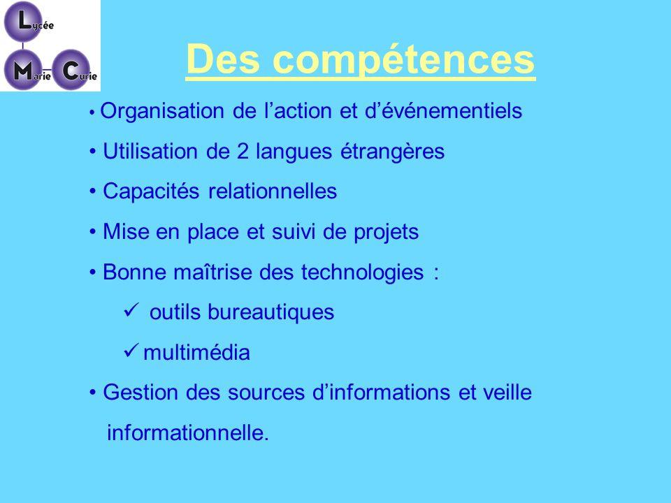 Des compétences Organisation de laction et dévénementiels Utilisation de 2 langues étrangères Capacités relationnelles Mise en place et suivi de proje
