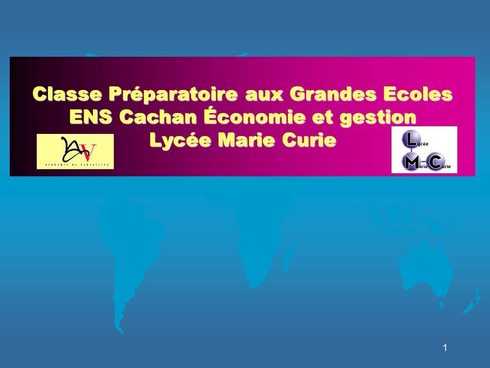1 Classe Préparatoire aux Grandes Ecoles ENS Cachan Économie et gestion Lycée Marie Curie