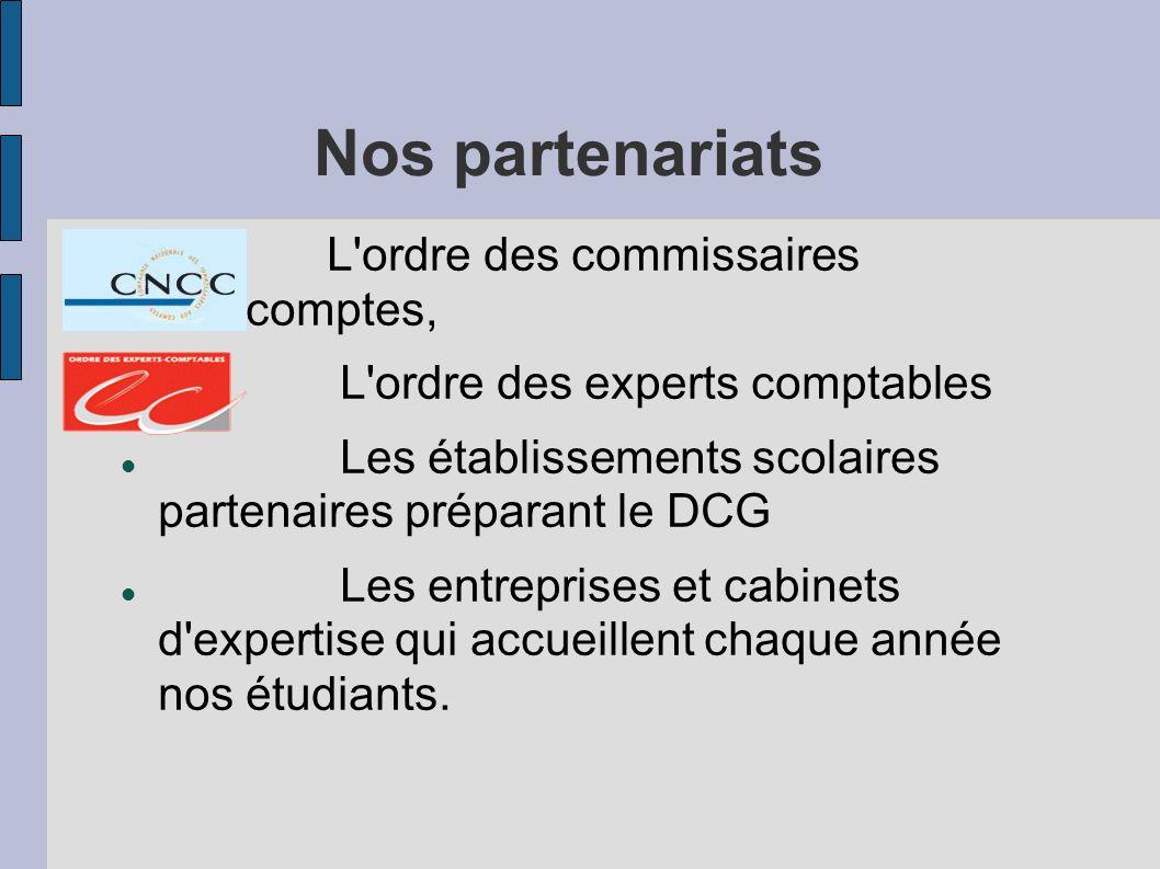 Nos partenariats L'ordre des commissaires aux comptes, L'ordre des experts comptables Les établissements scolaires partenaires préparant le DCG Les en