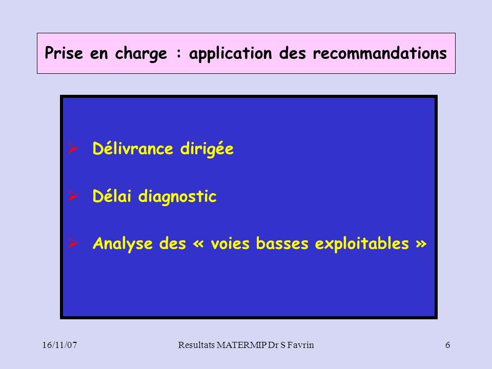 Prise en charge : application des recommandations Délivrance dirigée Délai diagnostic Analyse des « voies basses exploitables » 16/11/07Resultats MATE