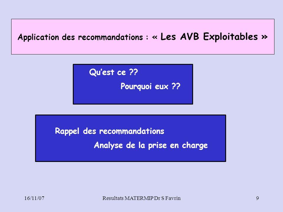 16/11/07Resultats MATERMIP Dr S Favrin9 Application des recommandations : « Les AVB Exploitables » Quest ce ?? Pourquoi eux ?? Rappel des recommandati