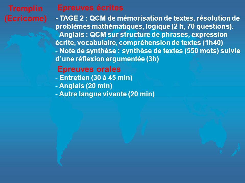 Tremplin (Ecricome) - TAGE 2 : QCM de mémorisation de textes, résolution de problèmes mathématiques, logique (2 h, 70 questions). - Anglais : QCM sur