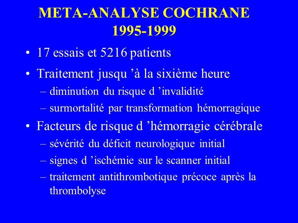 META-ANALYSE COCHRANE 1995-1999 17 essais et 5216 patients Traitement jusqu à la sixième heure –diminution du risque d invalidité –surmortalité par tr