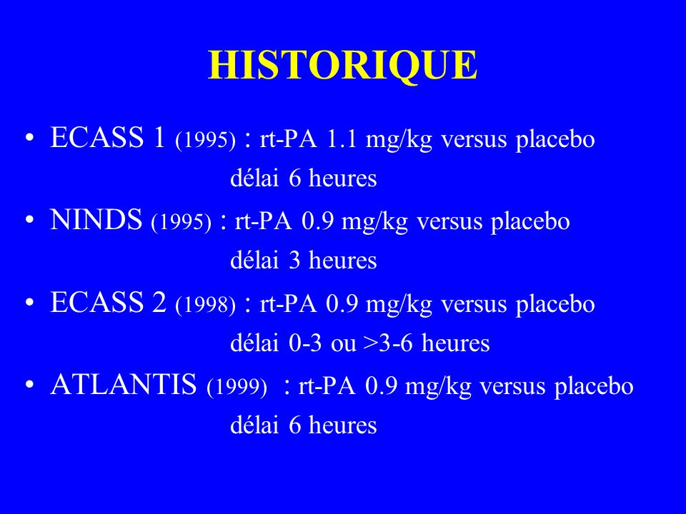 HISTORIQUE ECASS 1 (1995) : rt-PA 1.1 mg/kg versus placebo délai 6 heures NINDS (1995) : rt-PA 0.9 mg/kg versus placebo délai 3 heures ECASS 2 (1998)