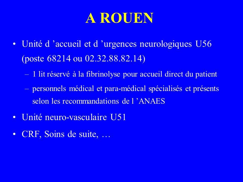 A ROUEN Unité d accueil et d urgences neurologiques U56 (poste 68214 ou 02.32.88.82.14) –1 lit réservé à la fibrinolyse pour accueil direct du patient