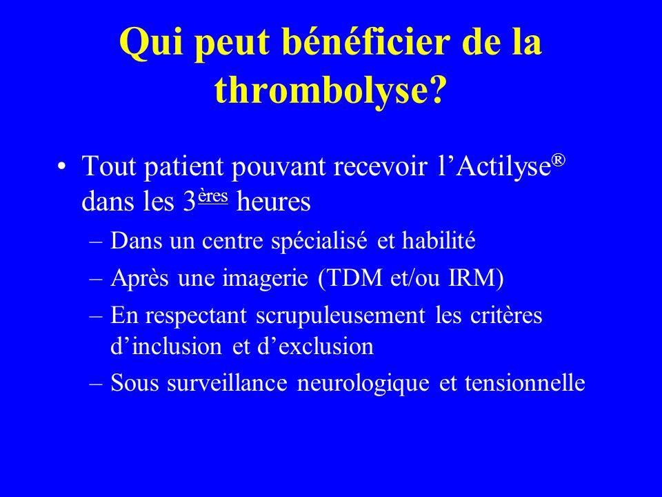 Qui peut bénéficier de la thrombolyse? Tout patient pouvant recevoir lActilyse ® dans les 3 ères heures –Dans un centre spécialisé et habilité –Après