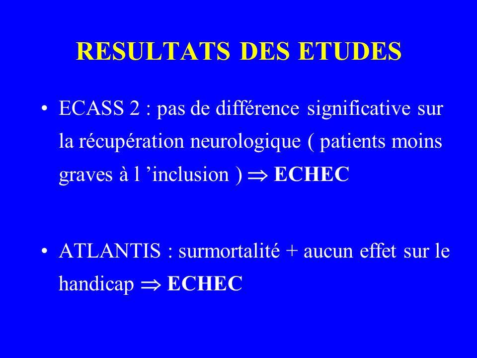RESULTATS DES ETUDES ECASS 2 : pas de différence significative sur la récupération neurologique ( patients moins graves à l inclusion ) ECHEC ATLANTIS
