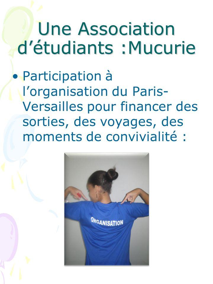 Une Association détudiants :Mucurie Participation à lorganisation du Paris- Versailles pour financer des sorties, des voyages, des moments de convivialité :