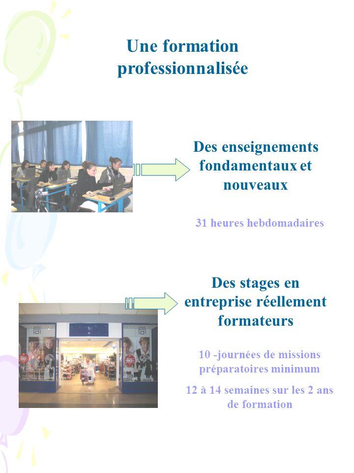 Une formation professionnalisée Des enseignements fondamentaux et nouveaux Des stages en entreprise réellement formateurs 31 heures hebdomadaires 10 -journées de missions préparatoires minimum 12 à 14 semaines sur les 2 ans de formation