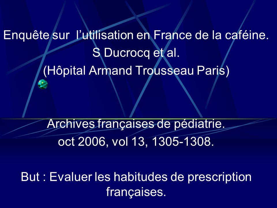 Questionnaire envoyé à 100 services de néonatologie français en 2005, 81 réponses reçues.
