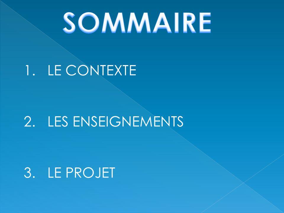 1. LE CONTEXTE 2. LES ENSEIGNEMENTS 3. LE PROJET