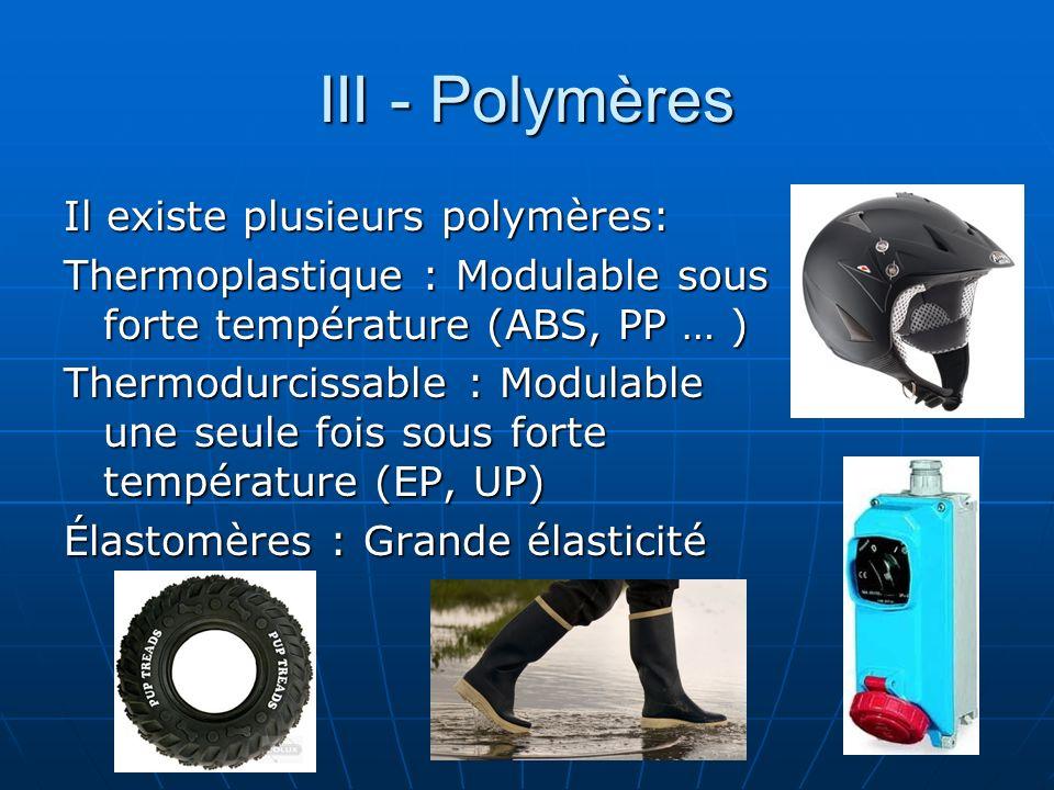 III - Polymères Il existe plusieurs polymères: Thermoplastique : Modulable sous forte température (ABS, PP … ) Thermodurcissable : Modulable une seule