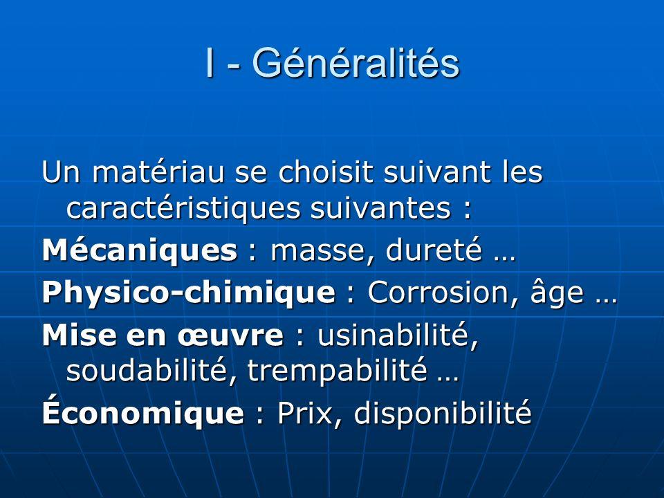 I - Généralités Un matériau se choisit suivant les caractéristiques suivantes : Mécaniques : masse, dureté … Physico-chimique : Corrosion, âge … Mise