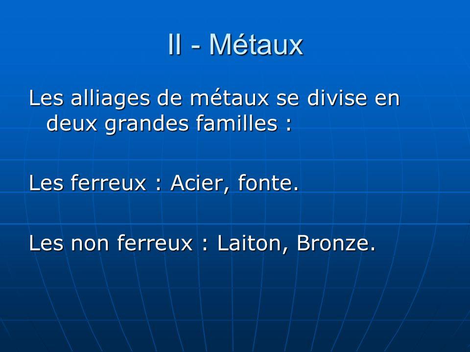 II - Métaux Les alliages de métaux se divise en deux grandes familles : Les ferreux : Acier, fonte. Les non ferreux : Laiton, Bronze.