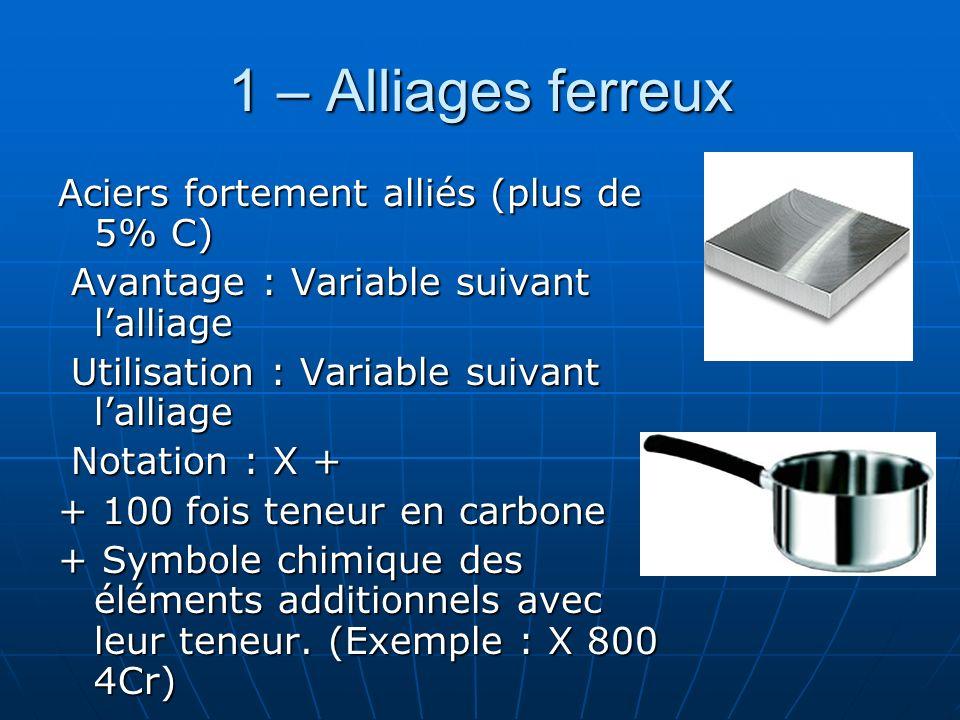 1 – Alliages ferreux Aciers fortement alliés (plus de 5% C) Avantage : Variable suivant lalliage Avantage : Variable suivant lalliage Utilisation : Va