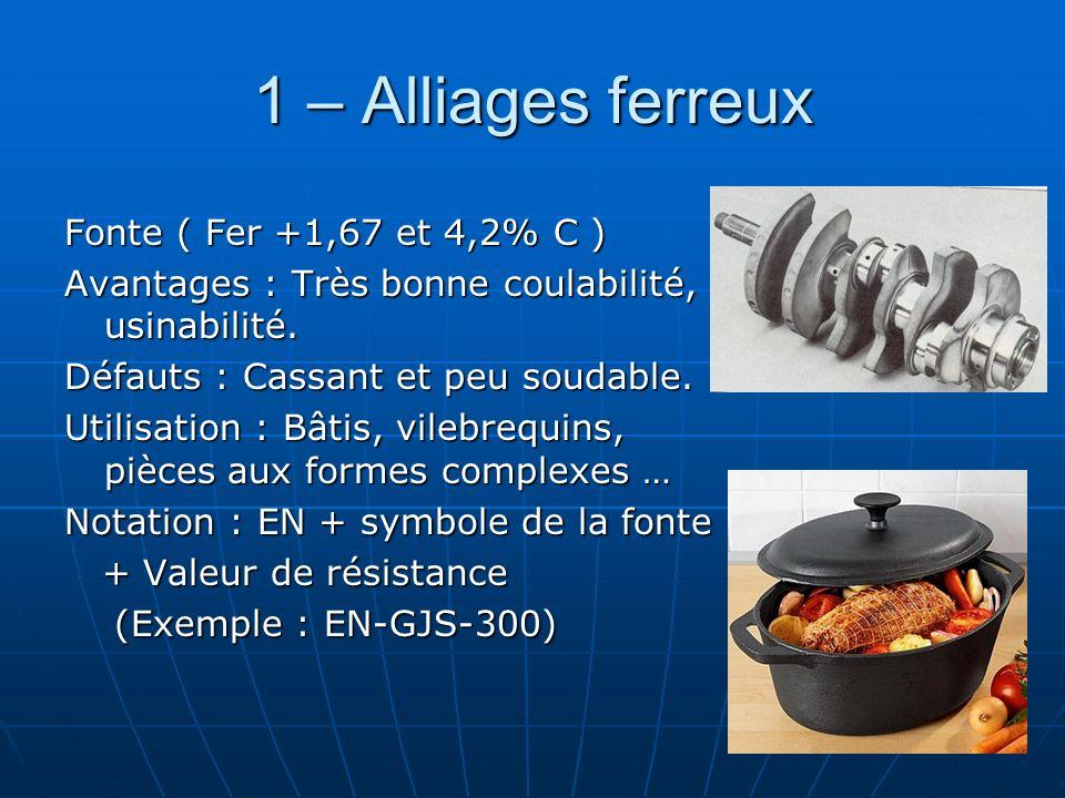 1 – Alliages ferreux Fonte ( Fer +1,67 et 4,2% C ) Avantages : Très bonne coulabilité, usinabilité. Défauts : Cassant et peu soudable. Utilisation : B