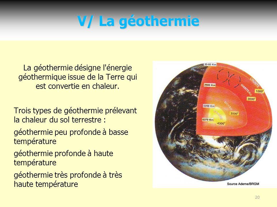 20 V/ La géothermie La géothermie désigne l énergie géothermique issue de la Terre qui est convertie en chaleur.