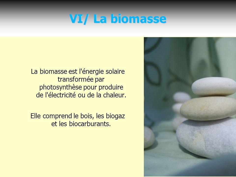 23 VI/ La biomasse La biomasse est l énergie solaire transformée par photosynthèse pour produire de l électricité ou de la chaleur.