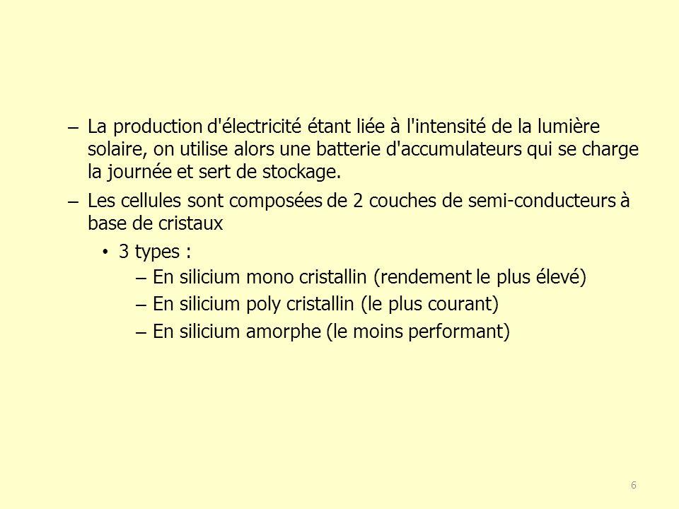 6 – La production d électricité étant liée à l intensité de la lumière solaire, on utilise alors une batterie d accumulateurs qui se charge la journée et sert de stockage.