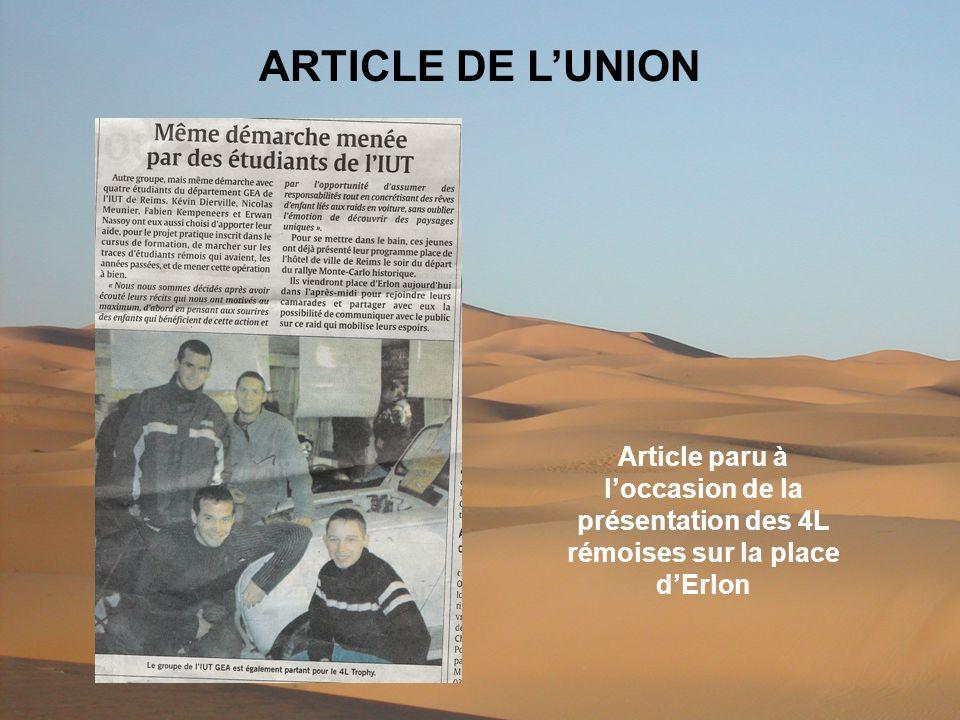 ARTICLE DE LUNION Article paru à loccasion de la présentation des 4L rémoises sur la place dErlon