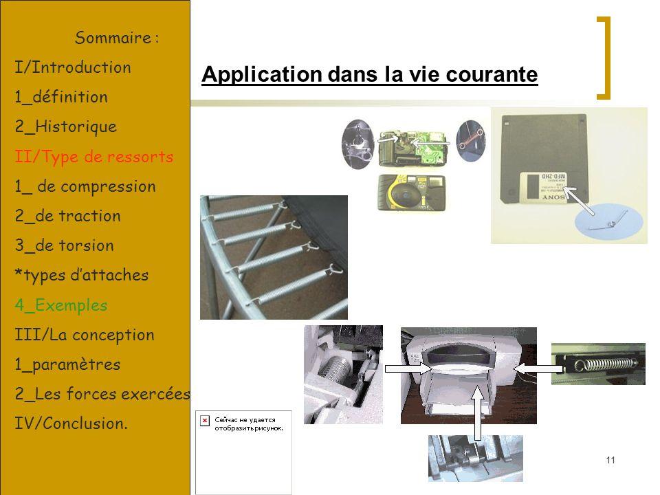 11 Application dans la vie courante Sommaire : I/Introduction 1_définition 2_Historique II/Type de ressorts 1_ de compression 2_de traction 3_de torsi