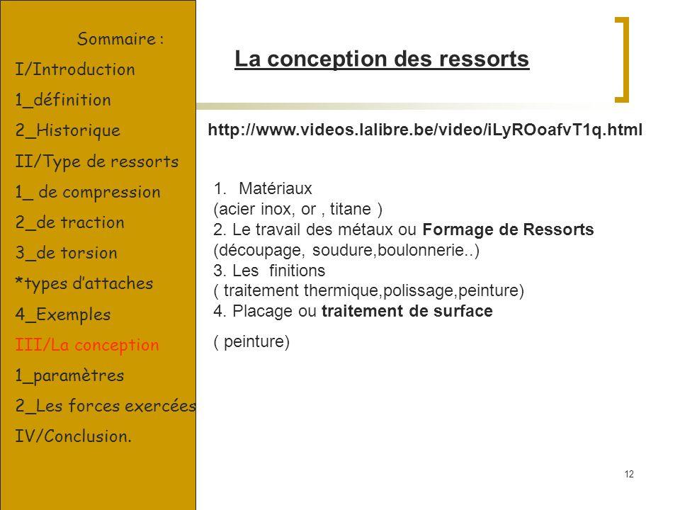 12 http://www.videos.lalibre.be/video/iLyROoafvT1q.html La conception des ressorts Sommaire : I/Introduction 1_définition 2_Historique II/Type de ress