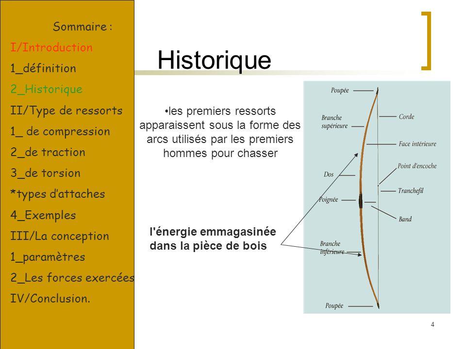 4 Historique l'énergie emmagasinée dans la pièce de bois les premiers ressorts apparaissent sous la forme des arcs utilisés par les premiers hommes po