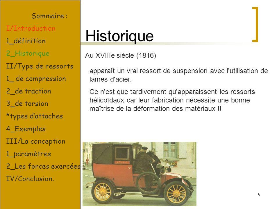 6 Historique Sommaire : I/Introduction 1_définition 2_Historique II/Type de ressorts 1_ de compression 2_de traction 3_de torsion *types dattaches 4_E