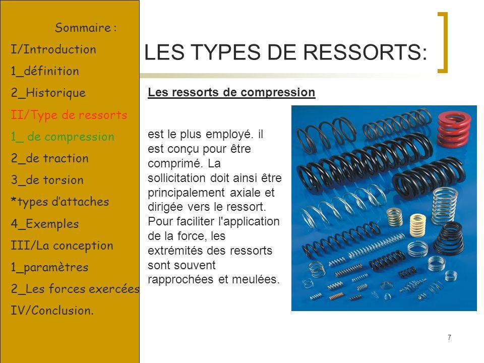 7 LES TYPES DE RESSORTS: Les ressorts de compression est le plus employé. il est conçu pour être comprimé. La sollicitation doit ainsi être principale