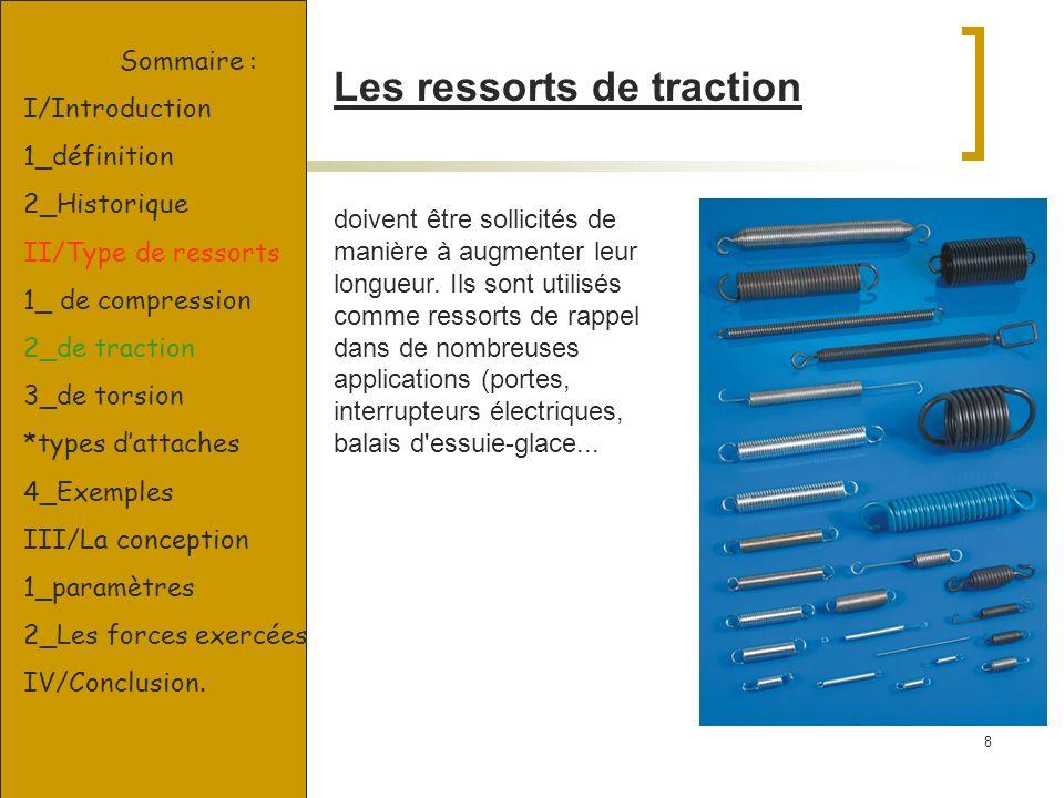 8 Les ressorts de traction doivent être sollicités de manière à augmenter leur longueur. Ils sont utilisés comme ressorts de rappel dans de nombreuses