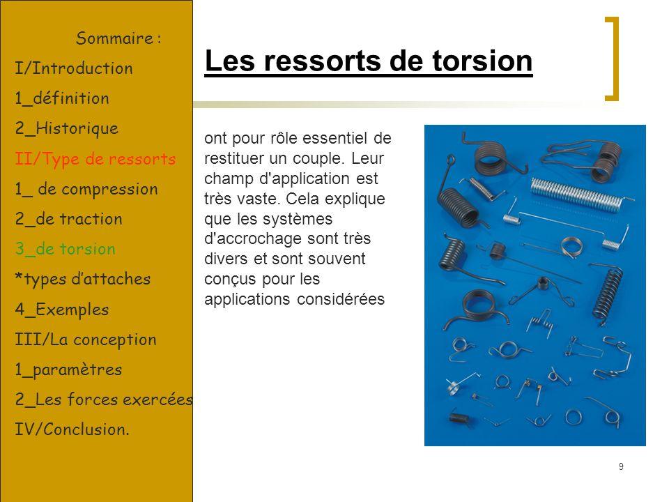 9 Les ressorts de torsion ont pour rôle essentiel de restituer un couple. Leur champ d'application est très vaste. Cela explique que les systèmes d'ac
