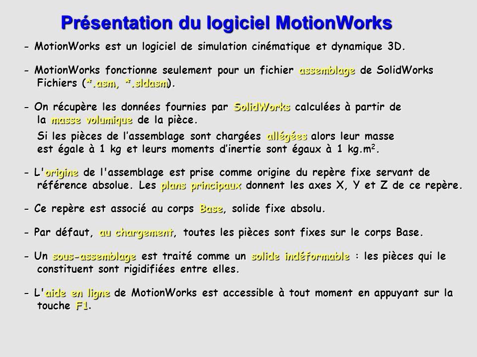 On retrouve dans le menu déroulant MotionWorks toutes les fonctions accessibles par les icônes des deux barres d outils MotionWorks.