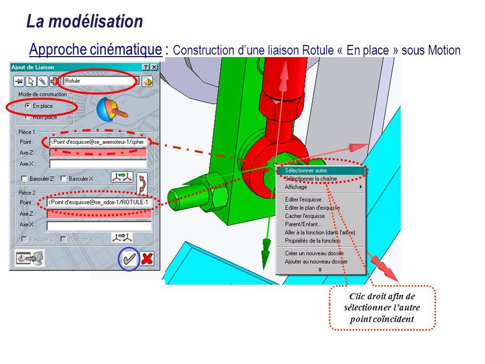 La modélisation Approche cinématique : Construction dune liaison Rotule « En place » sous Motion Clic droit afin de sélectionner lautre point coïncide