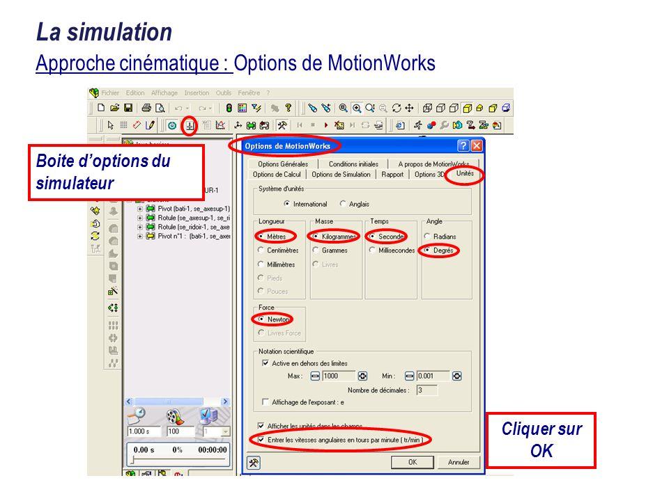 Approche cinématique : Options de MotionWorks La simulation Boite doptions du simulateur Cliquer sur OK