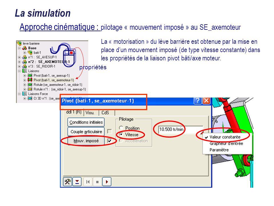 propriétés La simulation La « motorisation » du lève barrière est obtenue par la mise en place dun mouvement imposé (de type vitesse constante) dans l