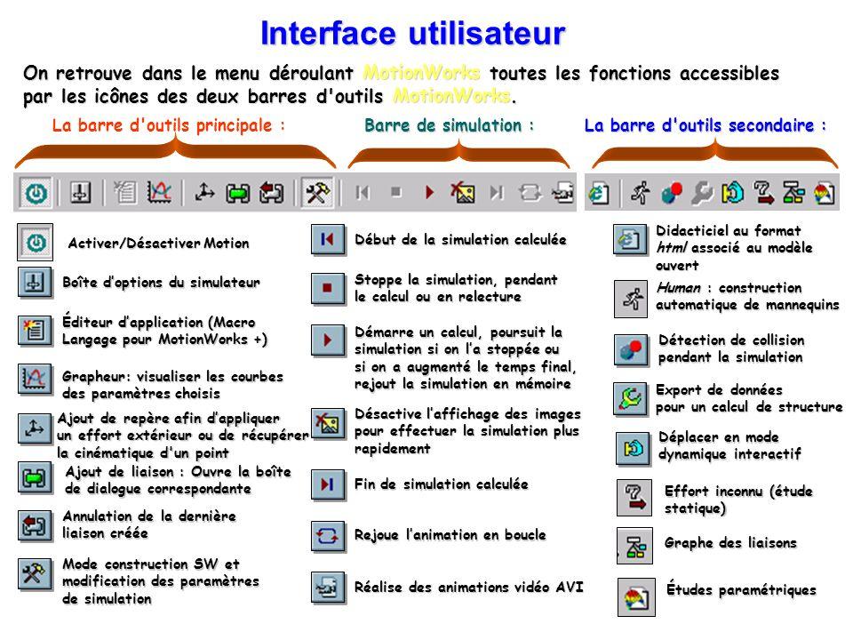 On retrouve dans le menu déroulant MotionWorks toutes les fonctions accessibles par les icônes des deux barres d'outils MotionWorks. Barre de simulati