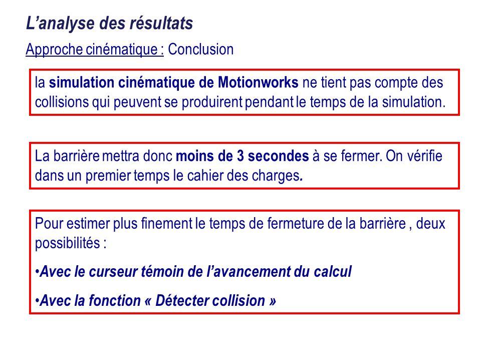 Approche cinématique : Conclusion Lanalyse des résultats la simulation cinématique de Motionworks ne tient pas compte des collisions qui peuvent se pr