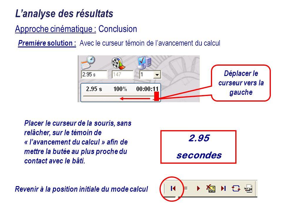 Approche cinématique : Conclusion Lanalyse des résultats Placer le curseur de la souris, sans relâcher, sur le témoin de « lavancement du calcul » afi