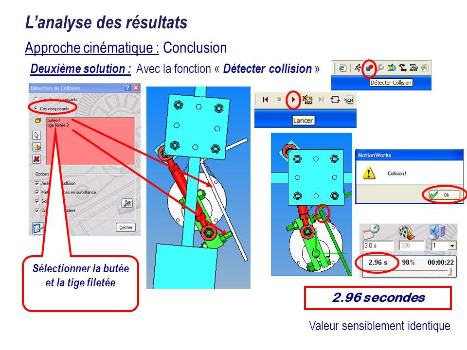 Approche cinématique : Conclusion Lanalyse des résultats Deuxième solution : Avec la fonction « Détecter collision » Sélectionner la butée et la tige