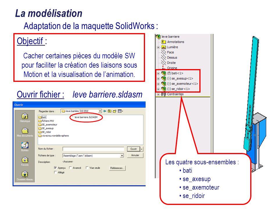 Objectif : Cacher certaines pièces du modèle SW pour faciliter la création des liaisons sous Motion et la visualisation de lanimation. Ouvrir fichier