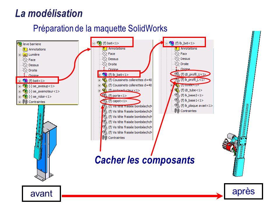 avant après La modélisation Cacher les composants Préparation de la maquette SolidWorks