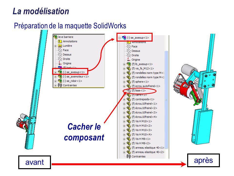 avant après La modélisation Préparation de la maquette SolidWorks Cacher le composant
