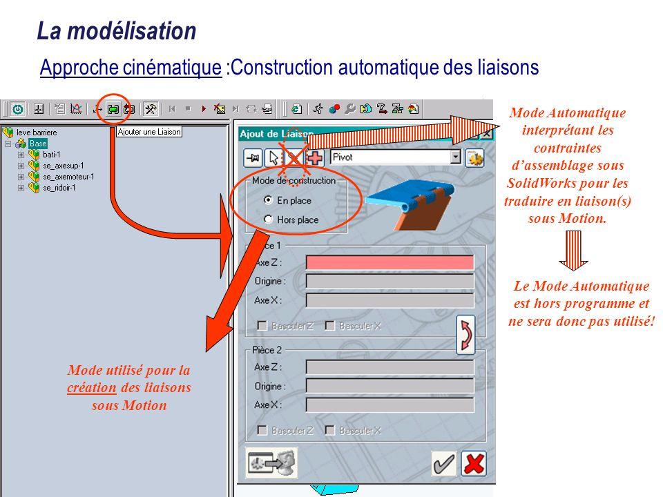 La modélisation Approche cinématique :Construction automatique des liaisons Mode utilisé pour la création des liaisons sous Motion Mode Automatique in
