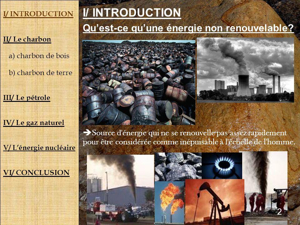 I/ INTRODUCTION II/ Le charbon a) charbon de bois b) charbon de terre III/ Le pétrole IV/ Le gaz naturel V/ Lénergie nucléaire VI/ CONCLUSION Quest-ce