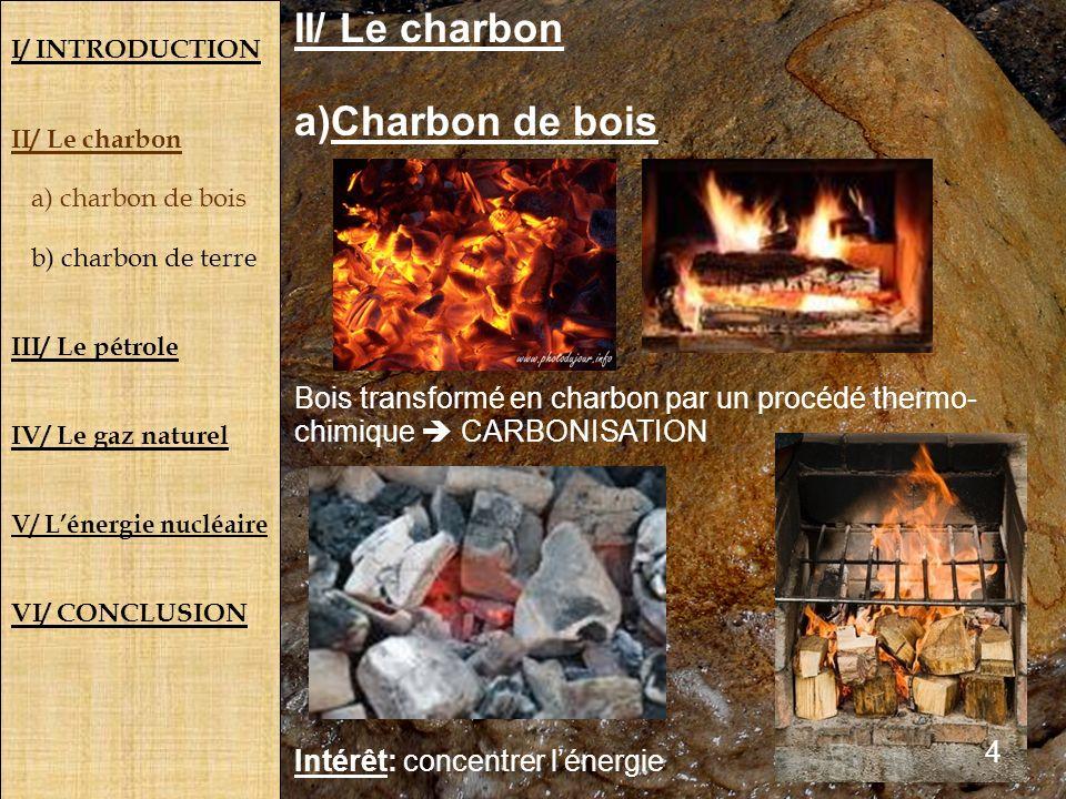 I/ INTRODUCTION II/ Le charbon a) charbon de bois b) charbon de terre III/ Le pétrole IV/ Le gaz naturel V/ Lénergie nucléaire VI/ CONCLUSION II/ Le c