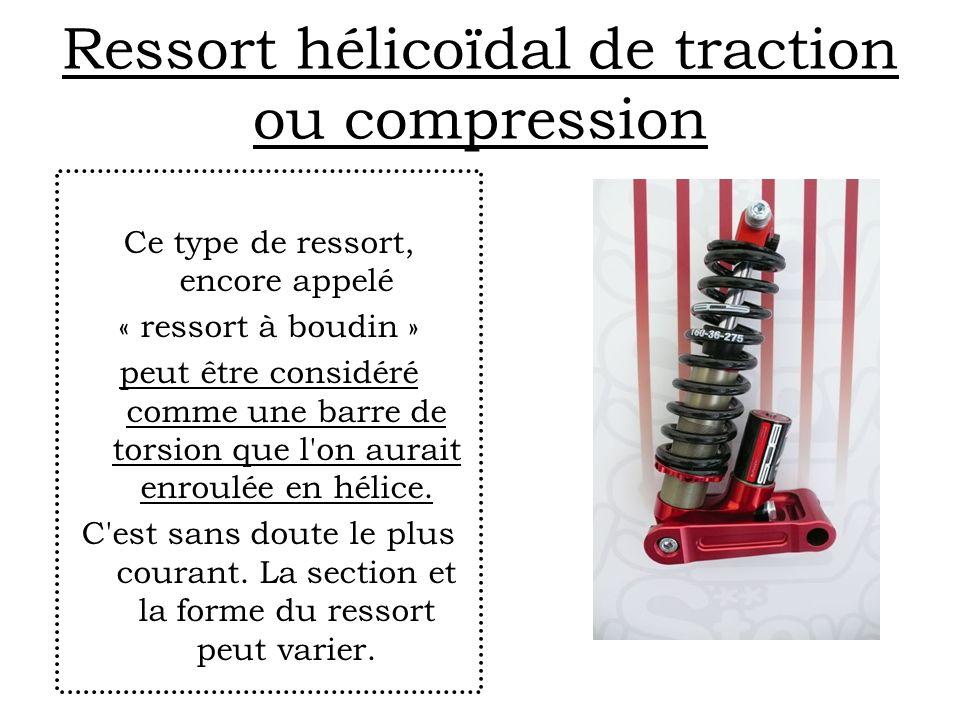 Ressort hélicoïdal de traction ou compression Ce type de ressort, encore appelé « ressort à boudin » peut être considéré comme une barre de torsion qu